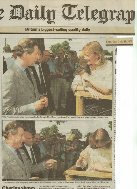 Sophie Neville introducing her otter to the Prince of Wales back in 2001