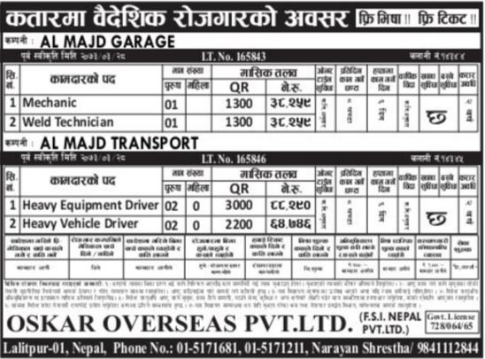 Free Visa Free Ticket, Jobs For Nepali In Qatar Salary -Rs.88,000/