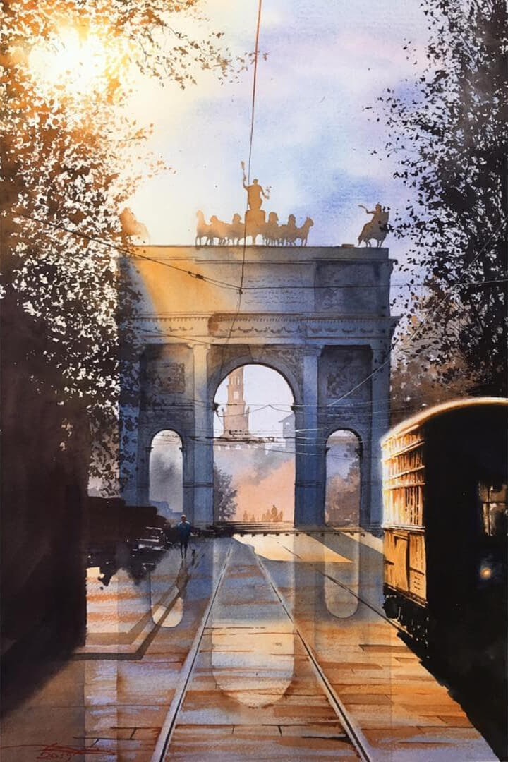05-Milan-Italy-Igor-Dubovoy-Realistic-Urban-Watercolor-Paintings-www-designstack-co