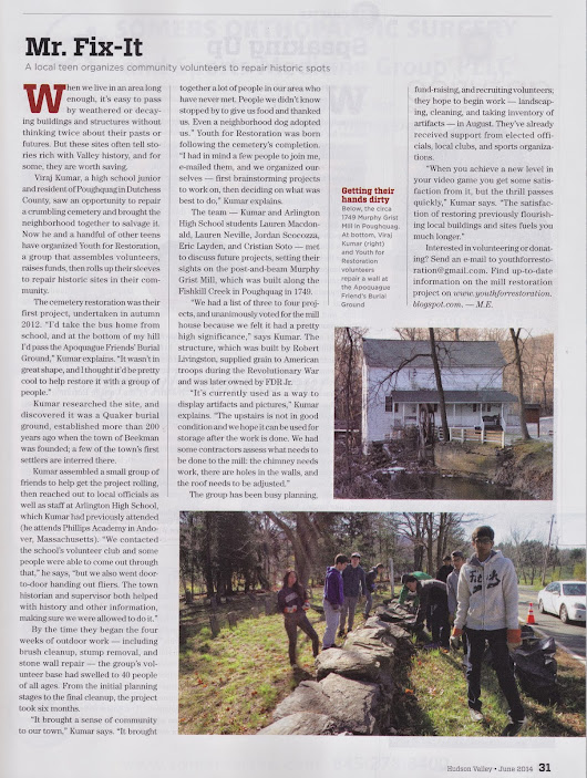 Hudson Valley Magazine features Youth for Restoration