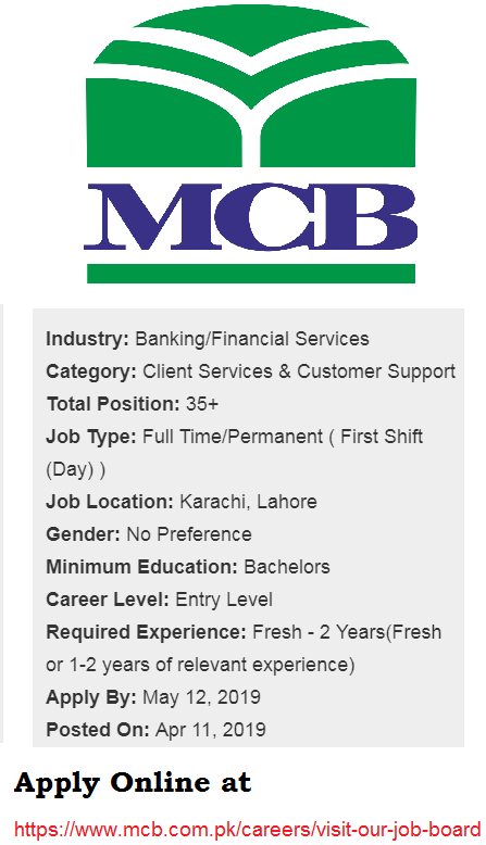MCB Jobs 2019 For Contact Center Executive