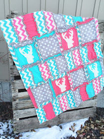 Deer Baby Quilts in Aqua, Hot Pink, and Gray Woodland
