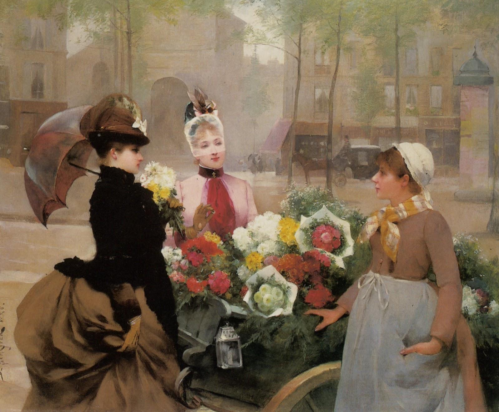 Louis de Schryver  The Flower Seller  La Belle poque  TuttArt  Pittura  Scultura