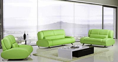 Rita Modern Ming Green Leather Sofa Furniture, modern furniture los angeles, living room