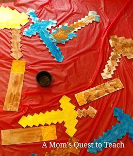 Cardboard Minecraft swords, torches, shovels