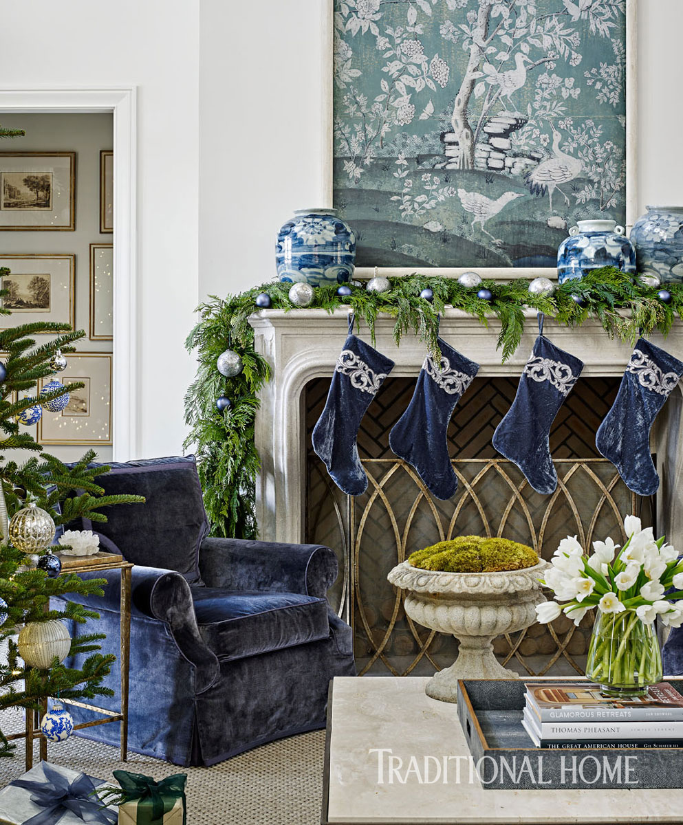 image result for beautiful room decorated blue gray lavender for Christmas elegant sophisticated interior design