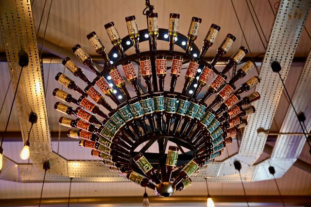 Brewdog, beer bottle chandelier. Aberdeen. pic:Kerstin Rodgers/msmarmitelover.com