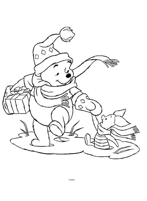 Free Coloring Pages: Winnie The Pooh Christmas Coloring Pages
