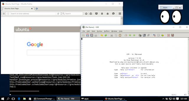 Windows 10 rodando aplicações de Linux