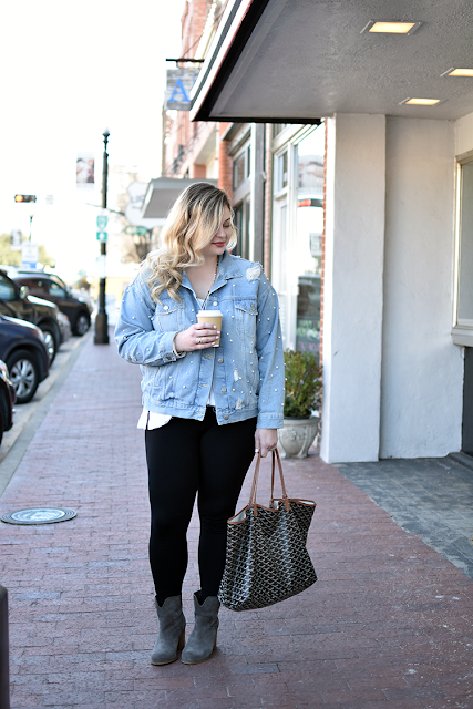free people pearl jacket sunday funday jcrew leggings thermal tee victoria emerson jewelry wrap bracelet leather and beads necklace long splenddi booties goyard st louis gm purse curled baylayage hair natural makeup