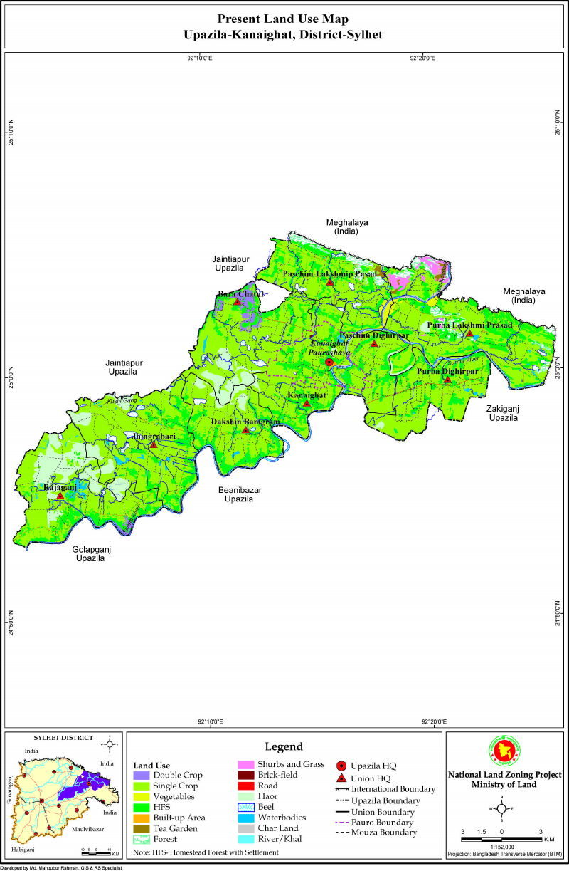 Kanaighat Upazila Mouza Map Sylhet District Bangladesh