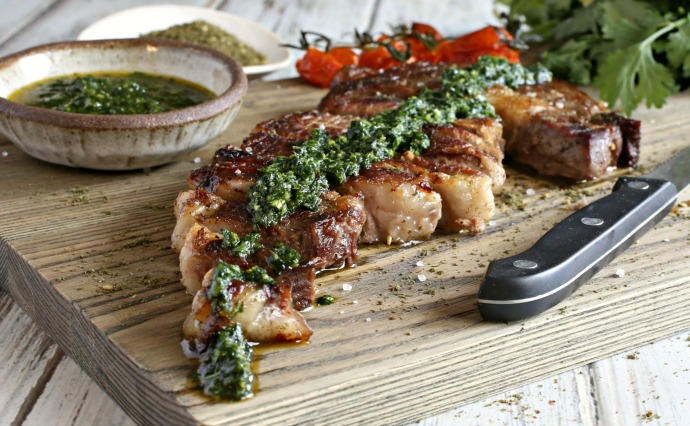 Grilled steak, crusted with za'atar and served with a spicy herb and garlic sauce.