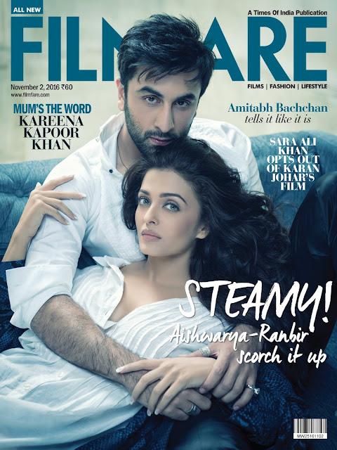 Ranbir kapoor, Aishwarya rai hot on filmfare magazine cover