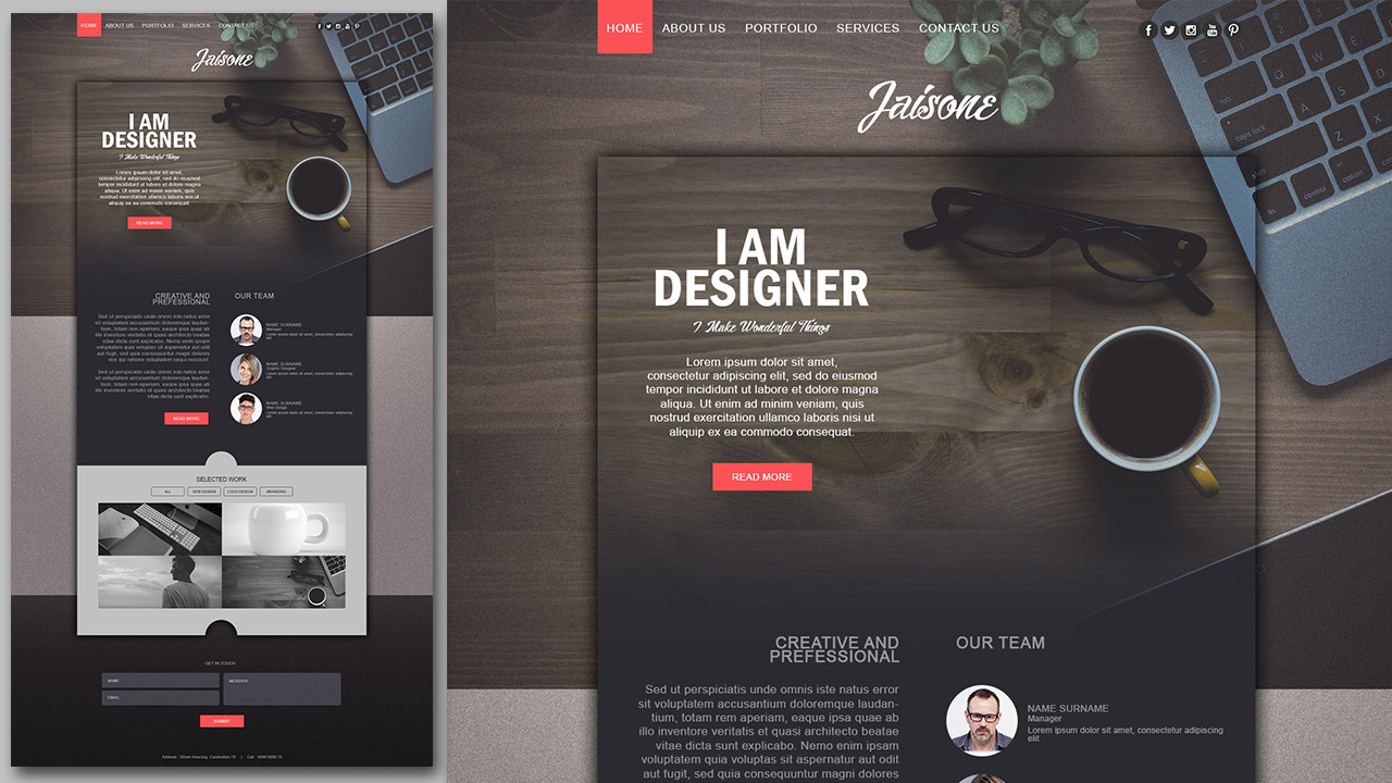 Make a Stylish Portfolio Website Design With Grain Texture In Photoshop
