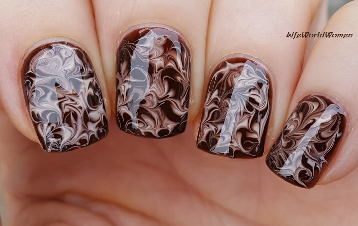 Life World Women Dry Marble Chocolate Nails Tutorial