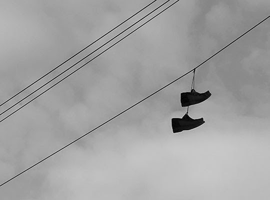 Two Shoes on a Wire, Urban Photography, black and white, photo, Sam Freek,