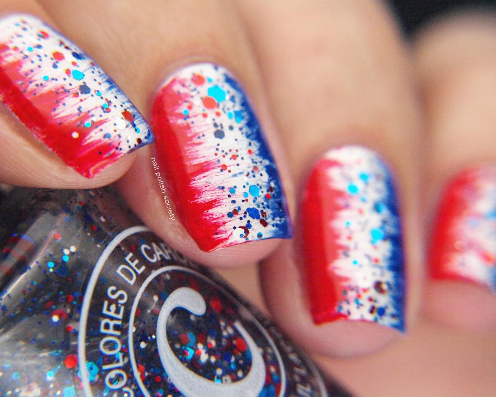 Nail Polish Society Red White And Glitter
