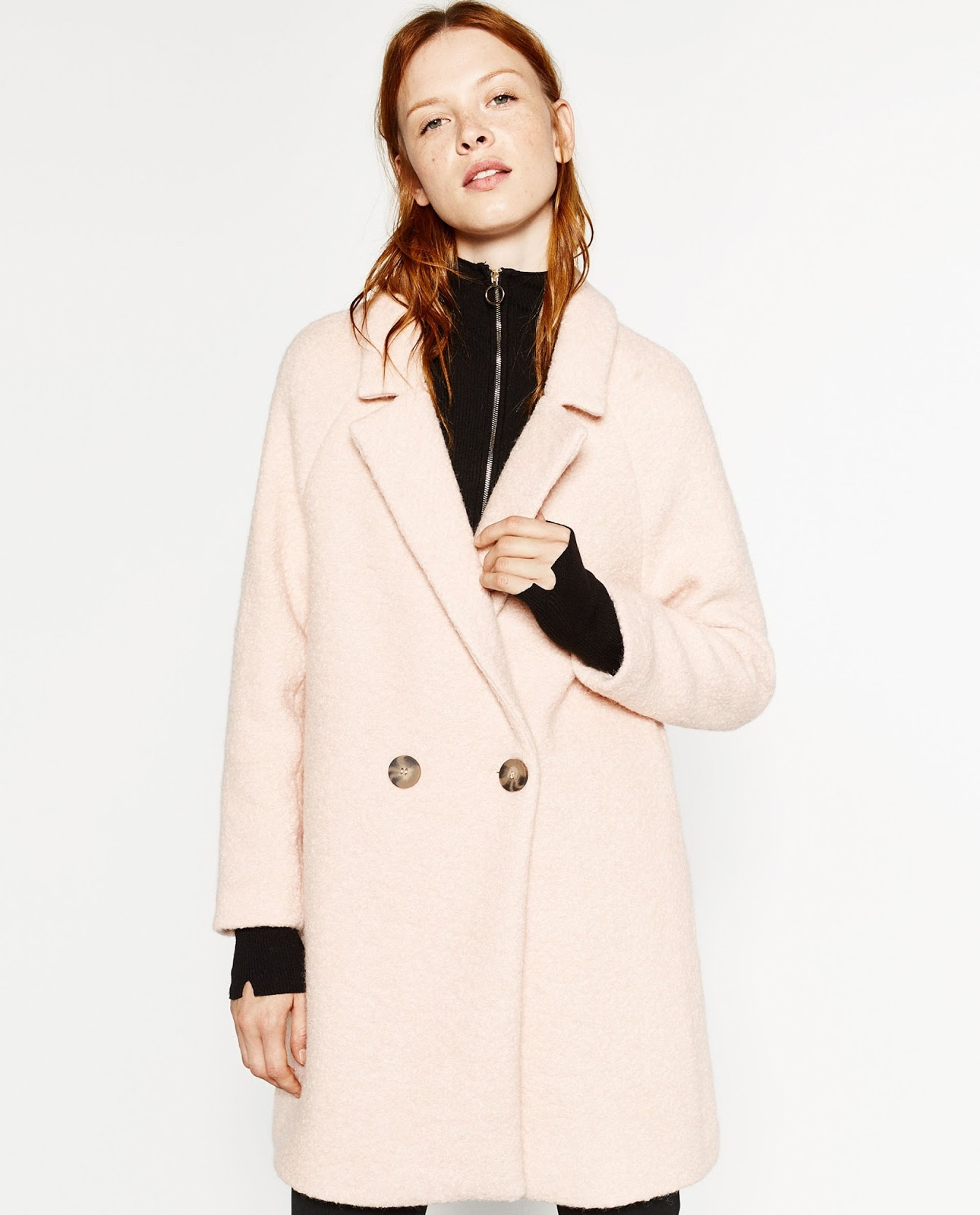 Zara blush coat