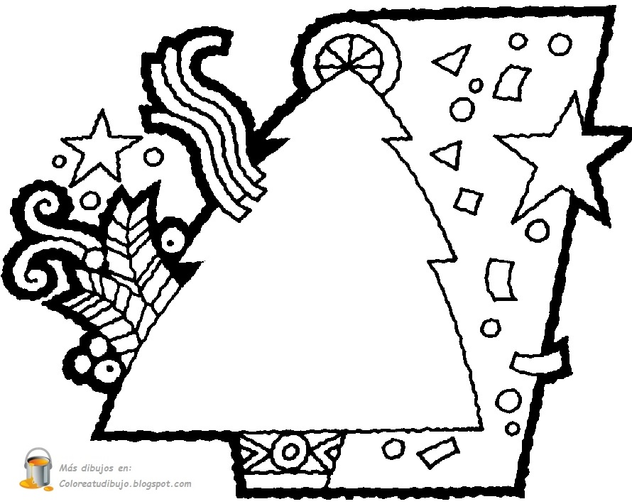 Dibujos De Arboles De Navidad Para Imprimir En Linea: COLOREA TUS DIBUJOS: Árbol Tarjeta Para Imprimir Y Colorear