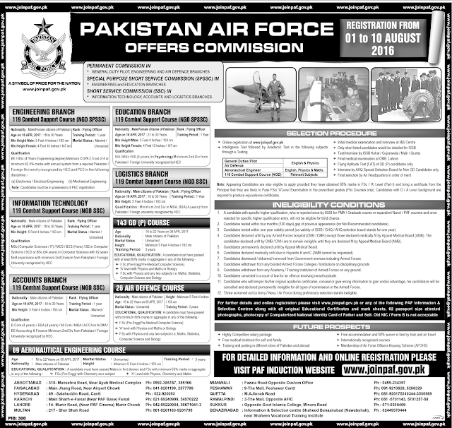Join Pakistan Air Force Jobs in Pakistan for Engineers, Educators, Accounts and Admin Staff