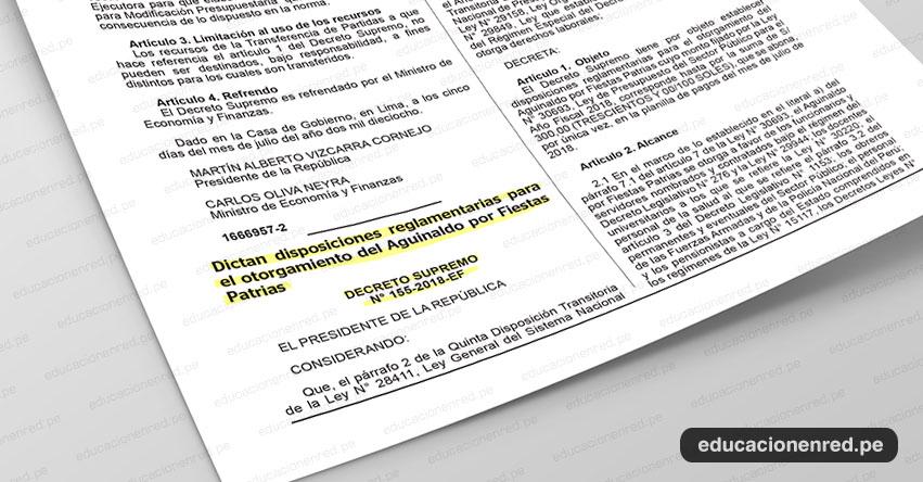 Trabajadores estatales recibirán S/ 300 de Aguinaldo por Fiestas Patrias (D. S. N° 155-2018-EF) Gratificación 28 Julio [.PDF]