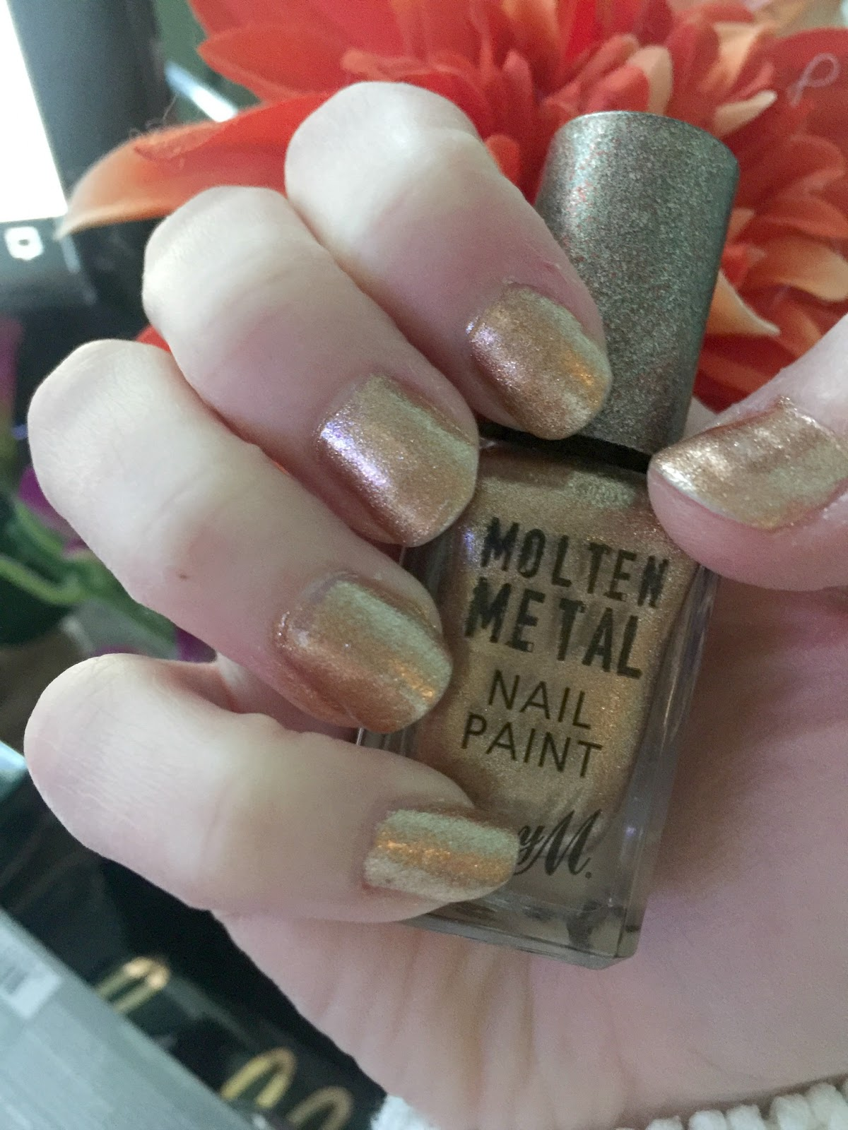 wearing barry m molten metal nail varnish bronze bae