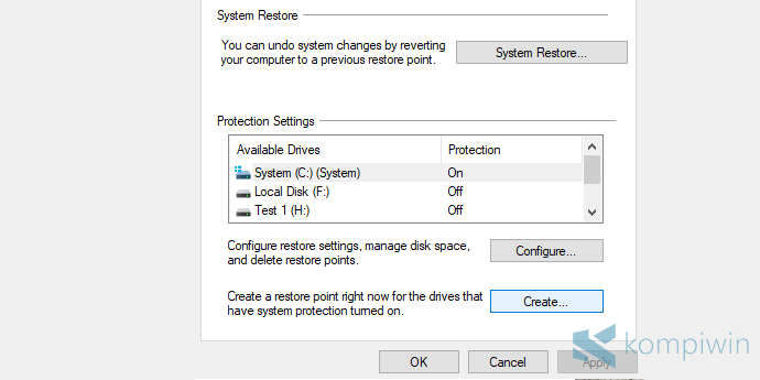 cara membuat system restore point di windows 10 windows 7 windows 8.1