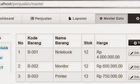 Source Kode Aplikasi Penjualan Sederhana Dengan Codeigniter