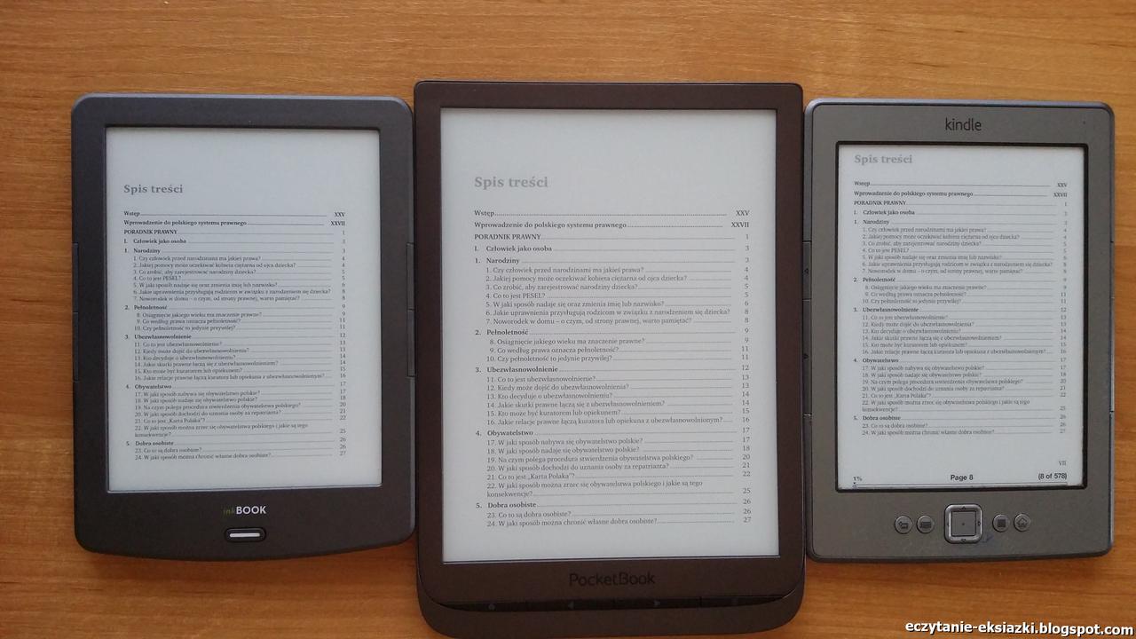 PocketBook InkPad 3, InkBook Classic-2 i Kindle-Classic - porównanie ekranów - plik PDF