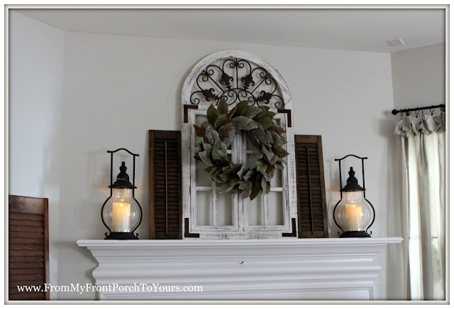 farmhouse fireplace mantel-magnolia wreath-carriage house lanterns-decor steals-from my front porch to yours