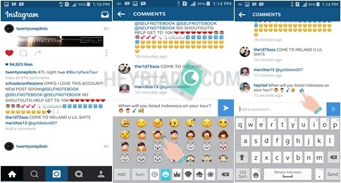 Membuat Emoticon di Instagram Android