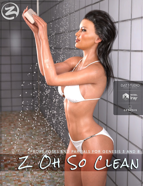 DAZ 3D - Z Oh So Clean - Utility Props and Poses for Genesis 3 and 8