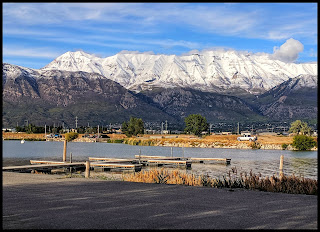 American Fork Boat Harbor  Utah Lake - Mount Timpanogas in Background