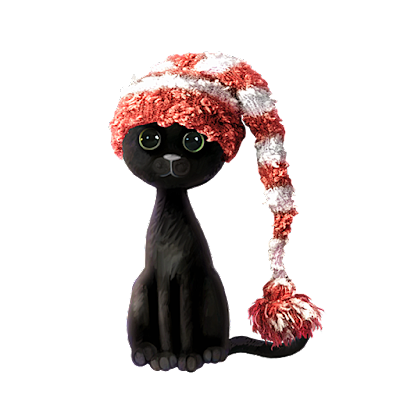 black tall cat red striped santa hat