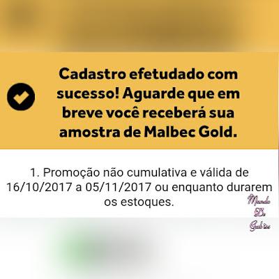 O Boticário : Promoção Malbec Gold Amostras Grátis