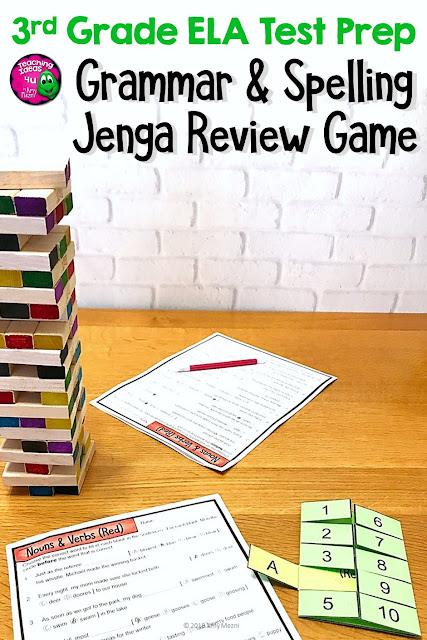 Grammar & Spelling JENGA Review Game 3rd Grade