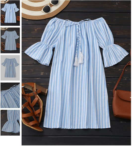 Off Shoulder Drawstring Striped Dress - Light Blue