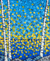 living by the lake painting by artist aaron kloss duluth mn, painting of birch trees and lake superior, rocks, sunset, pointillism