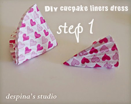 DIY cucpake liners dress step 1