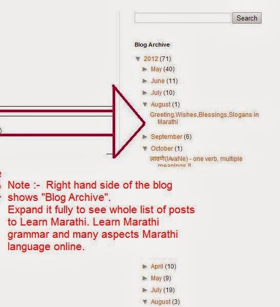 Meaning of marathi words in hindi