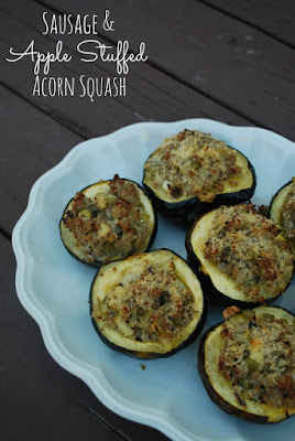 Sausage & Apple Stuffed Acorn Squash - Perfect partially make ahead side dish for Thanksgiving!