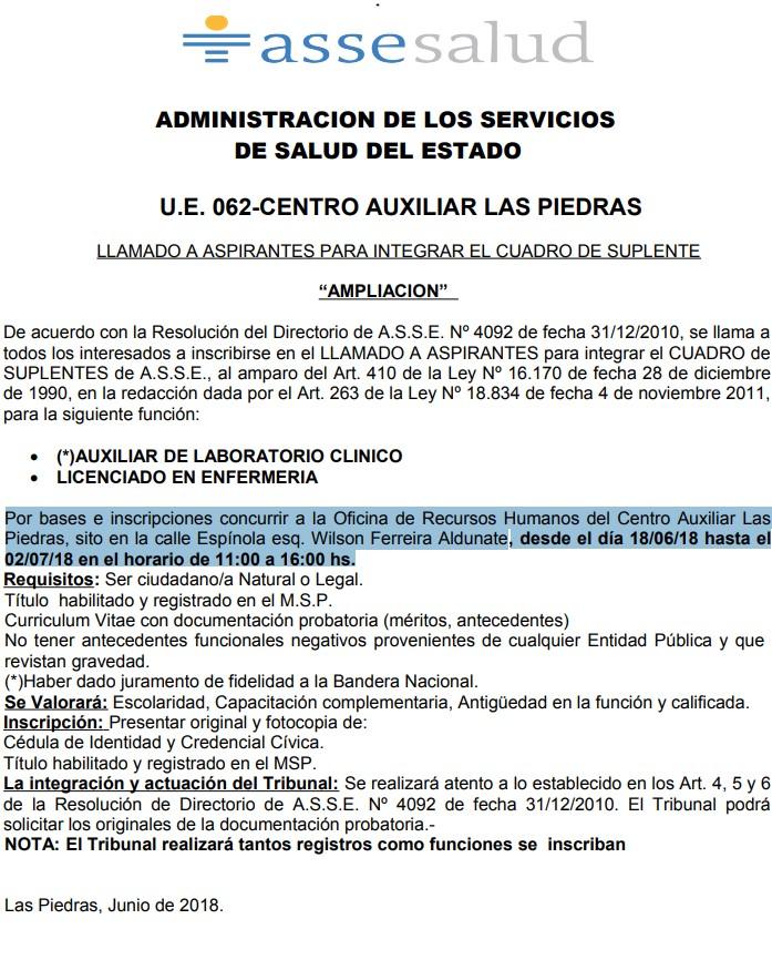 Auxiliares de Laboratorio Clínico Licenciados Enfermería Llamados 2018