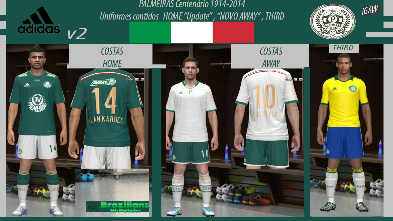 cf70495feb  PES 2014 PC  Palmeiras Centenário UPDATE - NOVOS LOGOS OFICIAIS - AWAY  PROVISÓRIO