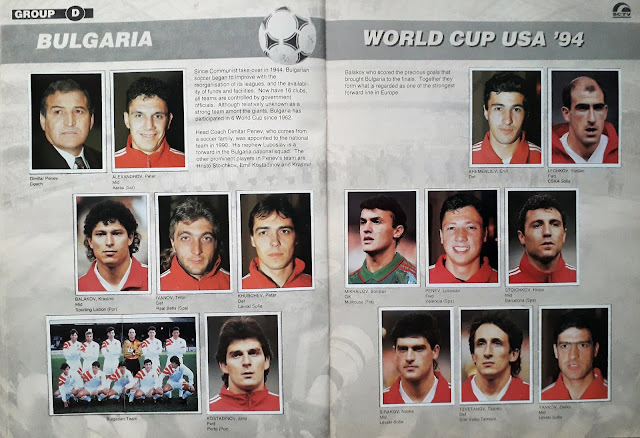 WORLD CUP USA '94 STICKER ALBUM COLLECTION GROUP D BULGARIA