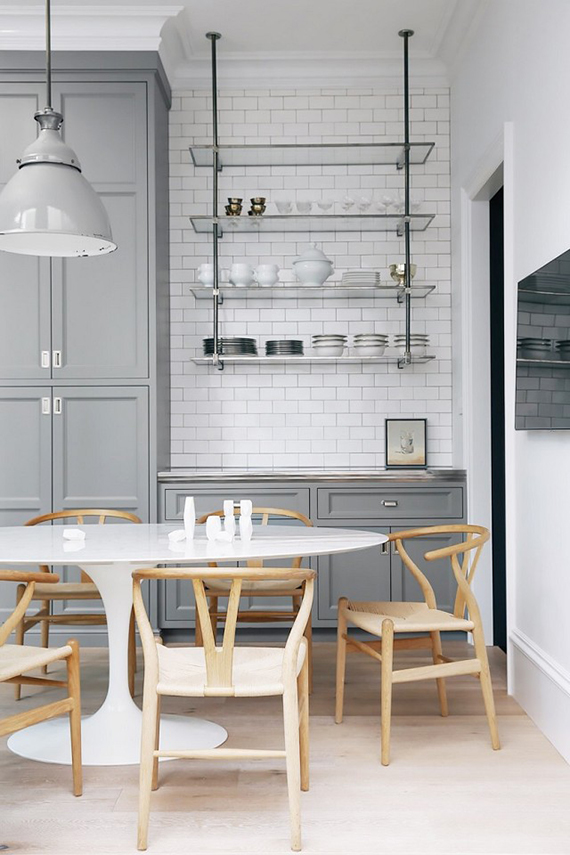 Grey and white modern kitchen via Lonny