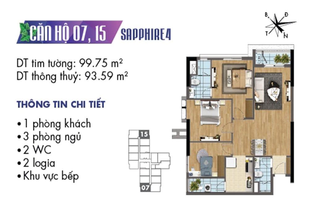 Mặt bằng căn hộ 07 và 15 tòa Sapphire 4