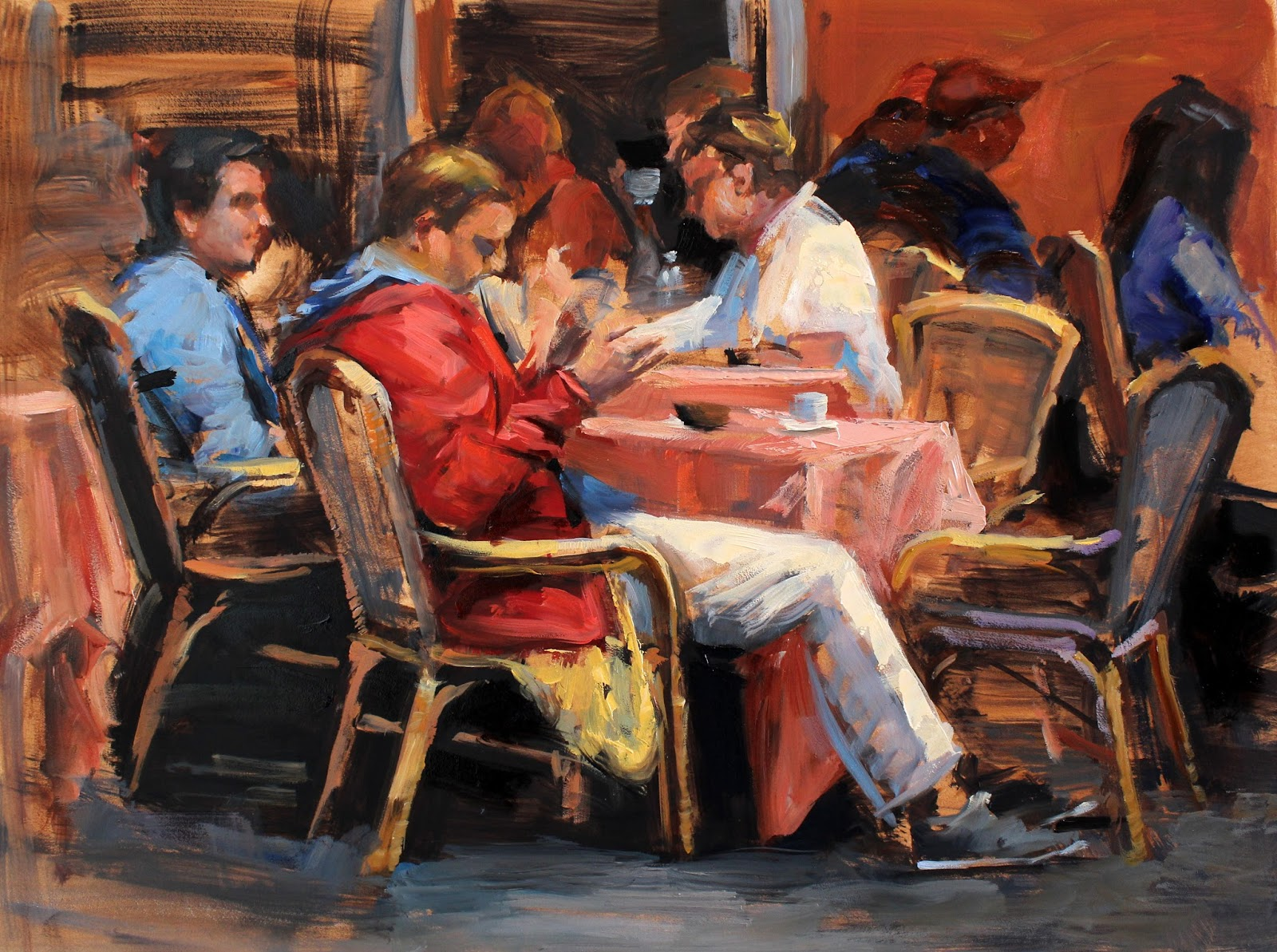 This Outdoor Cafe In Rome Is Bustling During Lunchtime People Are Relaxed As They Drink Their Espressos Oil On 9 X 12 Mdf Panel With 1 2 Cradled Pine
