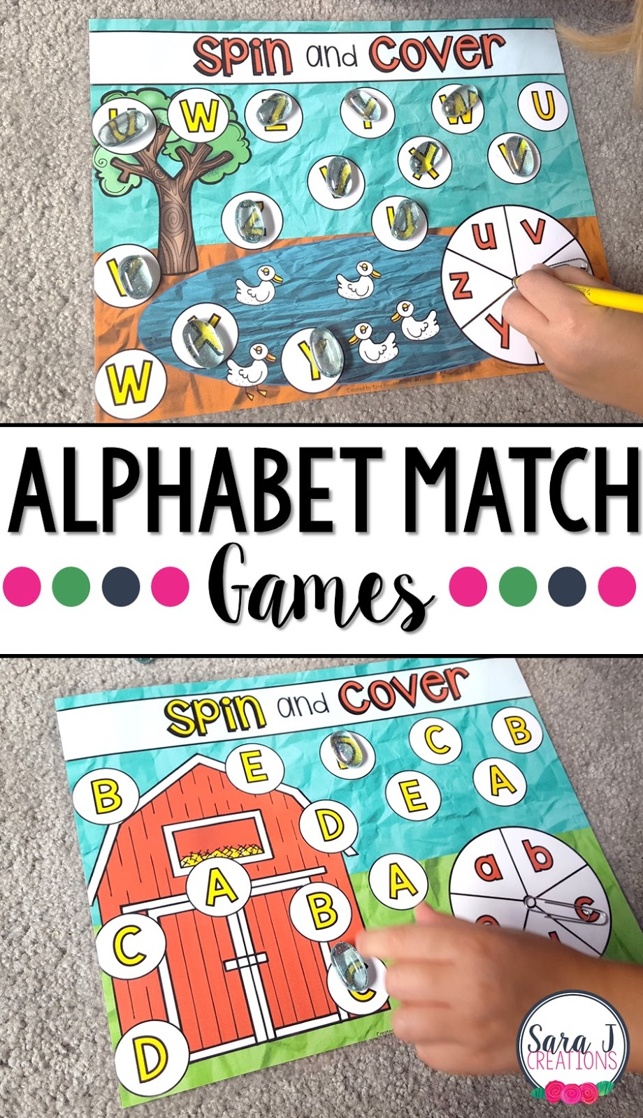Free farm themed alphabet match game printables.  Great way to practice matching upper and lowercase letters.