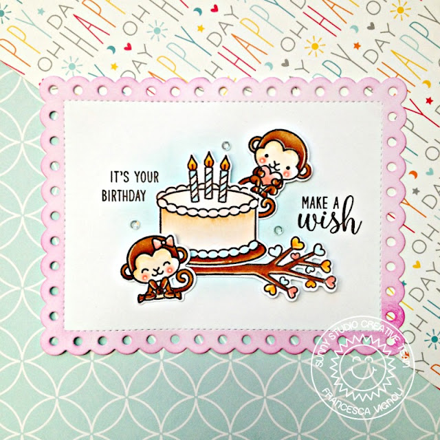 Sunny Studio Stamps: Make A Wish Love Monkey Frilly Frames Birthday Card by Franci Vignoli