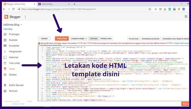 Tutorial cara mengganti template blog